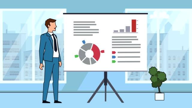 flat cartoon businessman character speaker explain business concept on whiteboard presentation animation - характеры стоковые видео и кадры b-roll