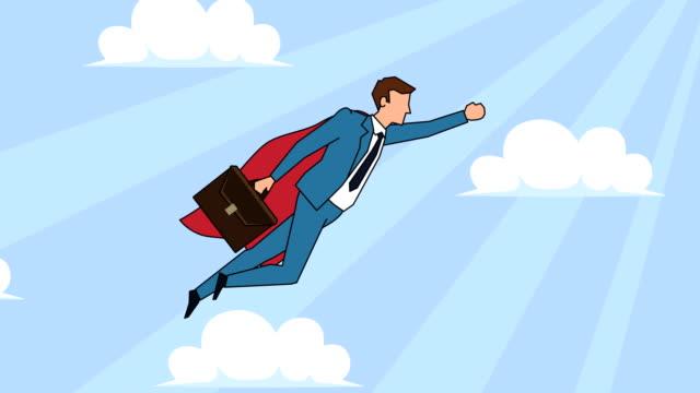 flat tecknad affärs man karaktär med väska flygande superhjälte med röd kappa framgång koncept animation - superhjälte isolated bildbanksvideor och videomaterial från bakom kulisserna