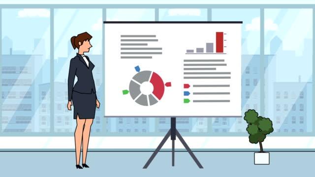flat cartoon businesswoman character speaker explain business concept on whiteboard presentation animation - характеры стоковые видео и кадры b-roll