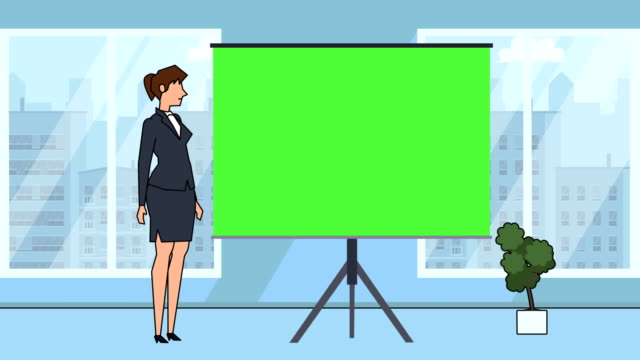 flat cartoon businesswoman character speaker near green board explain business concept animation with alpha matte - direttrice video stock e b–roll