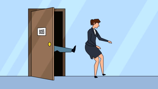 vídeos de stock e filmes b-roll de flat cartoon businesswoman girl character angry boss kicks the door business concept animation - ser despedido