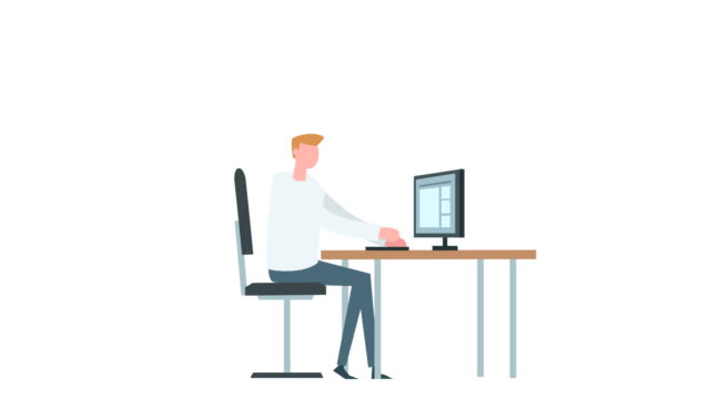 Flat cartoon colorful man character animation. Male computer typing work situation