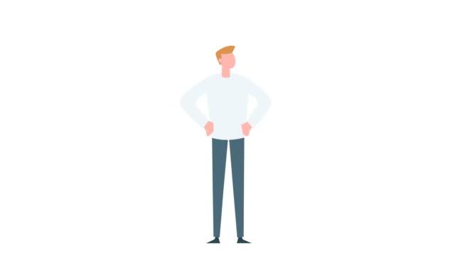 vídeos de stock, filmes e b-roll de animação colorida plana do caráter do homem do desenho animado. masculino feliz bem sucedido sim animado situação - ilustração e pintura