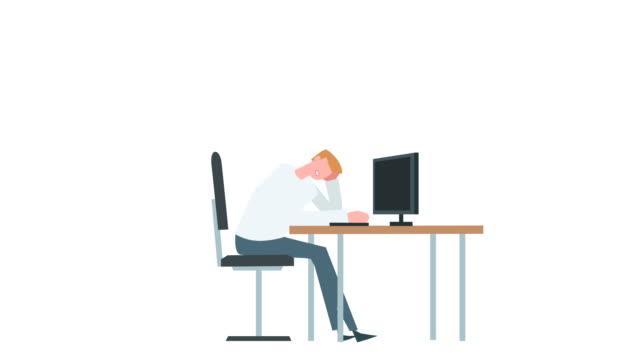 stockvideo's en b-roll-footage met platte cartoon kleurrijke man karakter animatie. mannelijke slaap in de buurt van de computer situatie - sleeping illustration