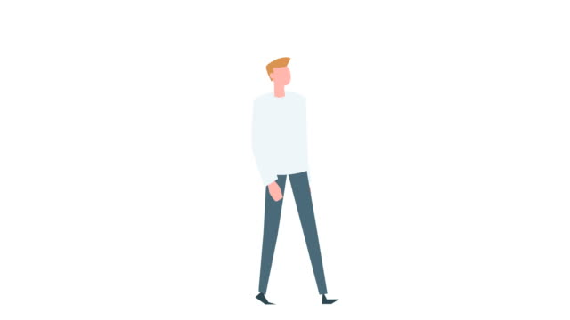 flat cartoon colorful man character animation. male walk cycle situation - характеры стоковые видео и кадры b-roll
