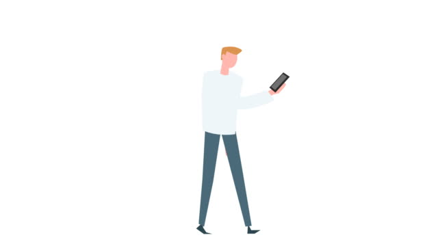 cartone animato piatto colorato uomo personaggio animazione. ciclo di camminata maschile con situazione smartphone - illustrazione video stock e b–roll