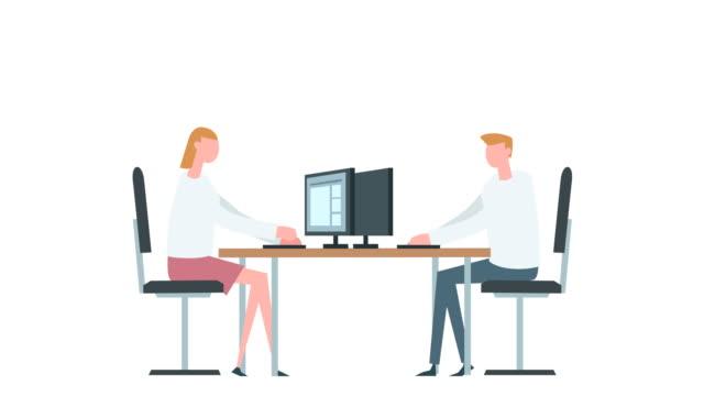vídeos y material grabado en eventos de stock de dibujos animados planos colorida mujer y hombre personajes de animación. situación de la oficina de trabajo de mecanografía - person icon