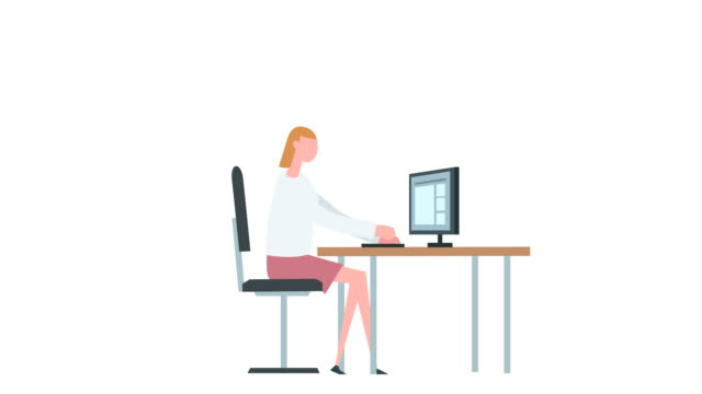 flat cartoon colorful woman character animation. girl female computer typing work situation - people icon video stock e b–roll