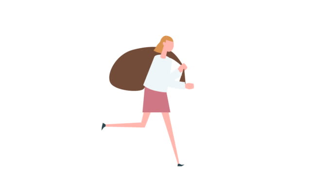 vídeos de stock, filmes e b-roll de animação colorida lisa do caráter da mulher dos desenhos animados. o ciclo do funcionamento da menina carreg o saco bagful na situação traseira - pesado peso
