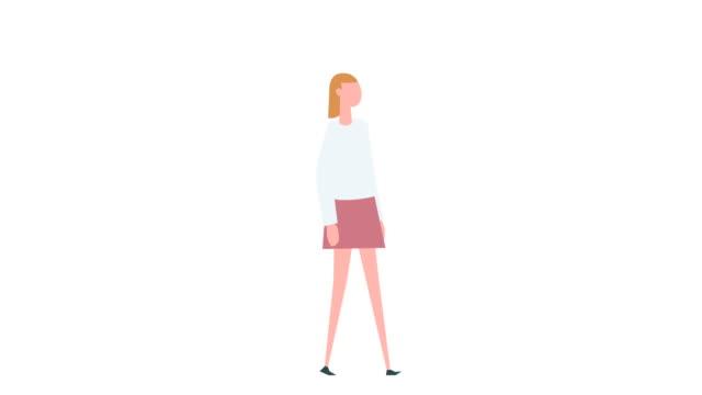 vidéos et rushes de animation colorée plate de caractère de femme de dessin animé. situation de cycle de marche de fille - personnalité