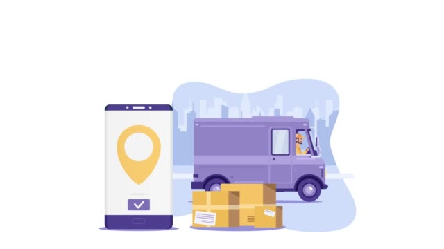 Flat cartoon purple delivery van vehicle with driver or courier and mobile phone on background with city with yellow boxes reveal