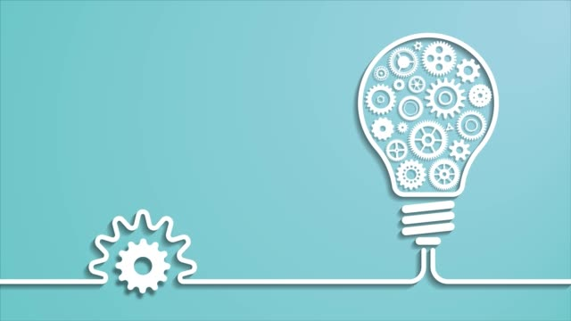 Flat design gears and cogs working together in light bulb.