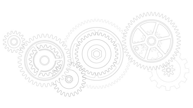 Flat design gears and cogs working together.
