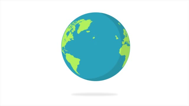 плоская конструкция спиннинг земли изолированы на белом. анимация планеты земля. плоский дизайн - континент географический объект стоковые видео и кадры b-roll