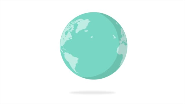 Flat design spinning Earth isolated on white. Animation of planet Earth. Flat design