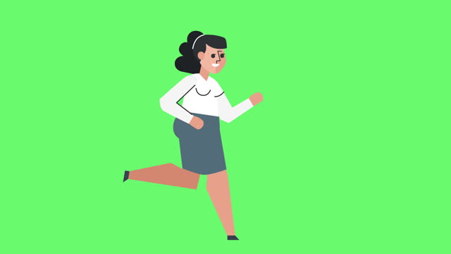 Flat Graphic Design Business Woman Character Run Cycle Isolated Loop Animation