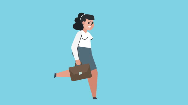 Flat Graphic Design Business Woman Character Run Cycle with Briefcase Isolated Loop Animation
