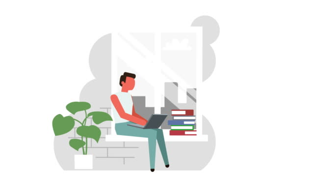 Flat Home Workplace Near Window Stick Figure Color Pictogram Man Character with Laptop Concept Animation