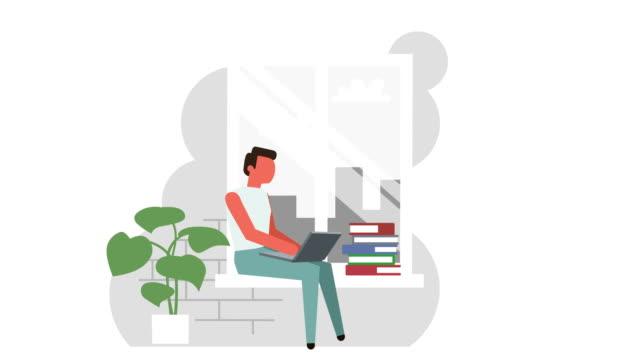 flat home workplace near window stick figura colore pittogramma uomo personaggio con animazione concetto laptop - illustrazione video stock e b–roll
