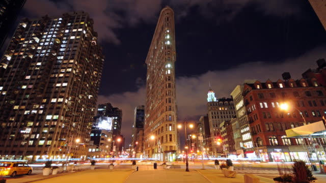 NYC Flat Iron building - downtown time lapse video