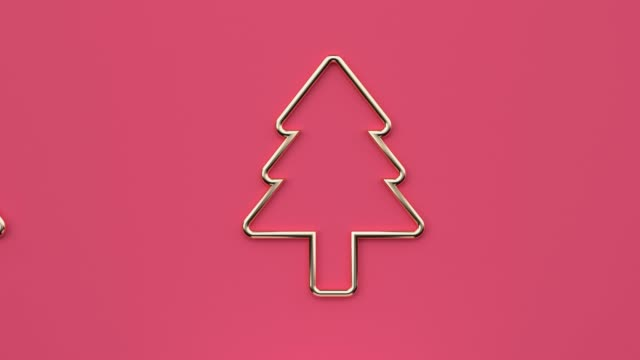 vídeos y material grabado en eventos de stock de flat lay escena abstracta árbol de navidad celebración de vacaciones año nuevo concepto de representación en 3d de movimiento minimalista - imagen en bucle