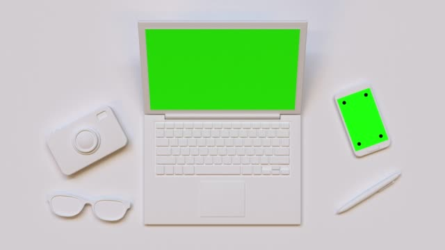 flat lay scene white computer/laptop green screen mock up 3d rendering technology flat lay scene white computer/laptop green screen mock up 3d rendering technology office illustrations videos stock videos & royalty-free footage