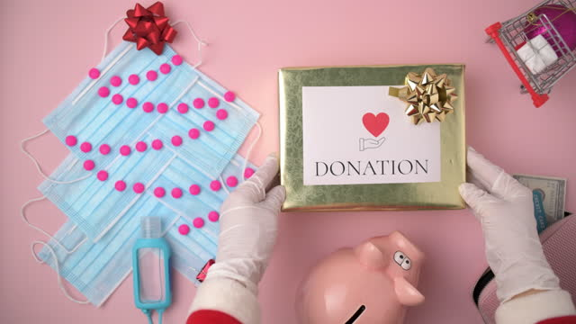 flat lay with donation present box