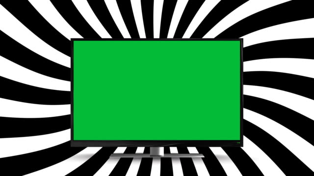 Flat screen television with a green screen Digital animation of a flat screen television with a green screen on a spinning striped background changing channels stock videos & royalty-free footage