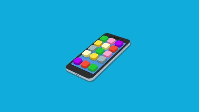 stockvideo's en b-roll-footage met platte smartphone met app pictogrammen beweging achtergrond instellen - isometric