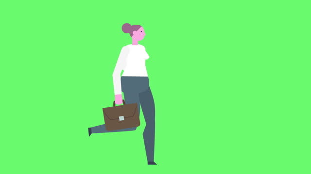 Flat Style Graphics Business Woman Character Running Cycle with Briefcase Isolated Animation