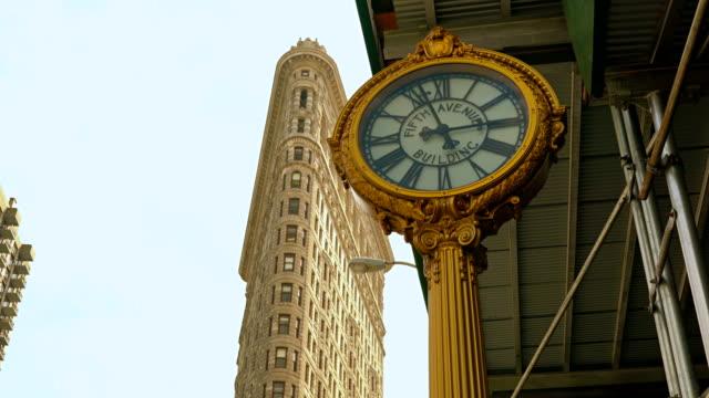 Flatiron building and clock, Manhattan, New York video