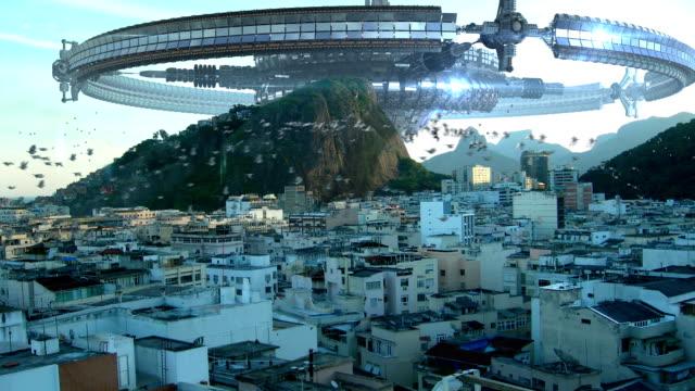 ufo flottan invaderande rio de janeiro - rymdvarelse bildbanksvideor och videomaterial från bakom kulisserna