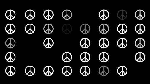 A Flickering Background of a Set of Peace Icons on a Black Screen video