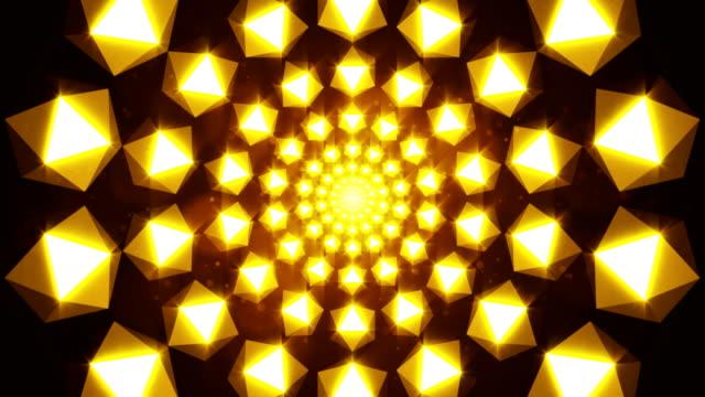 flackernde goldene elemente bilden tunnel. 3d gerendert - gold waschen stock-videos und b-roll-filmmaterial