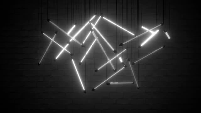 titreyen beyaz neon ampuller sorunsuz döngü 3d render animasyon - avize aydınlatma ürünleri stok videoları ve detay görüntü çekimi