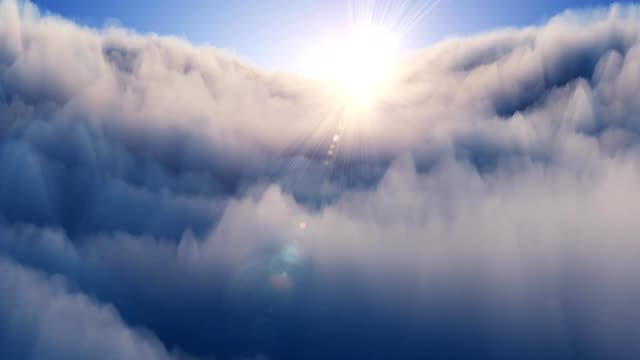Flight above clouds at sunset. Weather and forecast concept. Looping animation