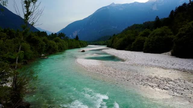 4K. Flight above Soca river in Slovenia at sunset. Julian Alps, Soca Valley, Bovec district video