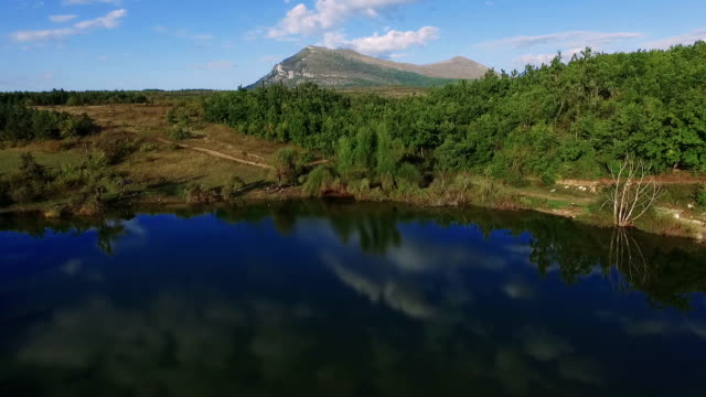 Flight above the mountain lake video