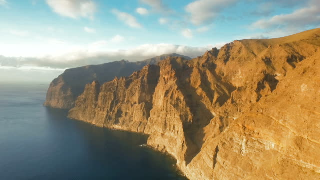 Flight along the huge rocks of Los Gigantes Tenerife video