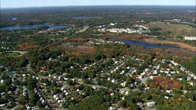 Flight Alongside Route 95  - Aerial View - Massachusetts,  Middlesex County,  United States video