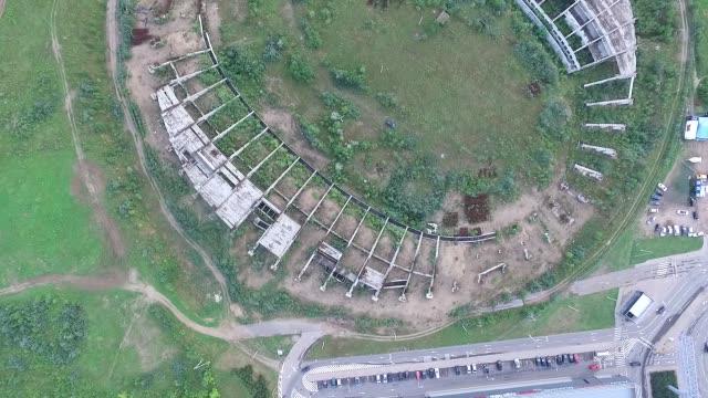 Flight Around Abandoned Stadium Near Supermarket 1 video