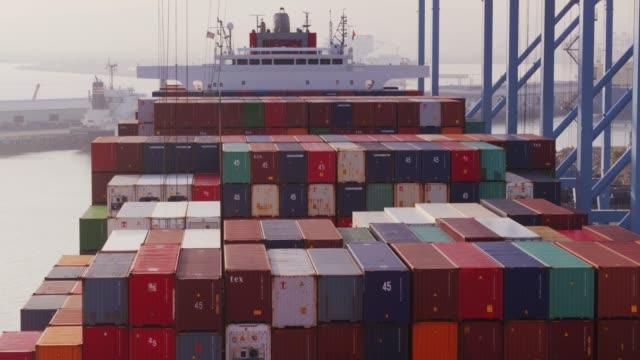 Flight Around Loaded Cargo Ship in Port of Long Beach