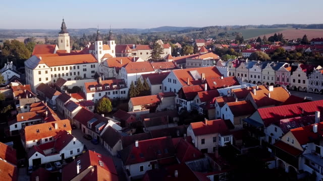 Flight around old town Telc, southern Moravia, Czech Republic. video