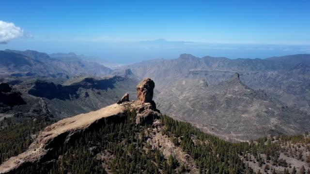 Flight around Roque Nublo, a volcanic rock in caldera of Tejeda, Gran Canaria, Canary islands, Spain.