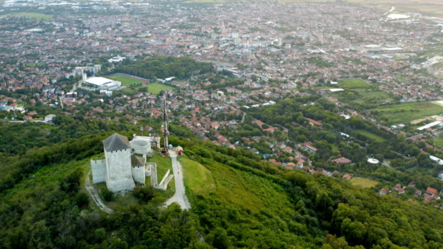 flight around the medieval stone fortified above the city