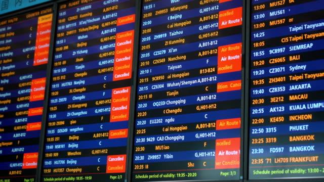 flight canceled and delay due to weather condition - табло вылетов и прилётов стоковые видео и кадры b-roll