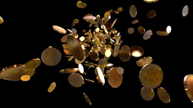 hd: полет монеты-петли фона - монета стоковые видео и кадры b-roll