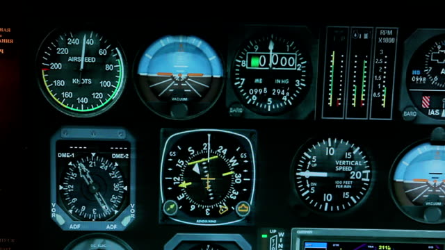 Flight control system showing altitude and speed details, aircraft navigation video