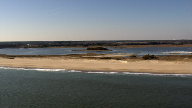 Flight Down Beach In Cape Henlopen State Park  - Aerial View - Delaware,  Sussex County,  United States