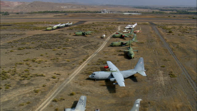 Flight Down Line Of Old Aircraft  - Aerial View - Wyoming, Big Horn County, United States video